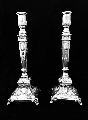 Shabos  925 Sterling Silver Pair Candlesticks Venezia By Hadad Bros
