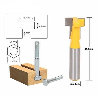US 1/4'' Shank T-Slot Carbide Cutter Router Bit Woodworking Keyhole Tools