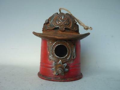 Bird House Hanging Resin Fire Hat Decorative Garden Decor 20X19X20CM