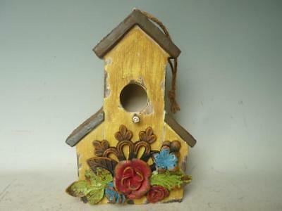 Bird House Hanging Resin Barn Yellow Decorative Outdoor Garden Decor   19X13X...