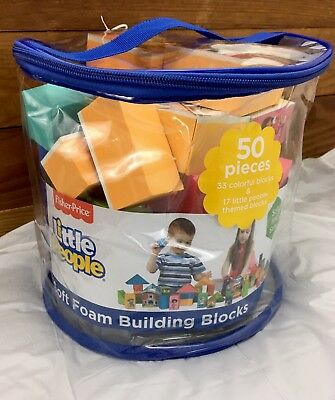 New Sealed Fisher Price Little People Soft Foam Building Blocks 2+ Build Play
