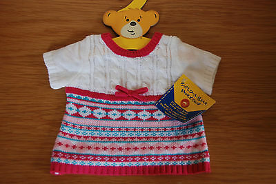 Build a Bear Workshop outfit White Fair Isle Dress knit bow white pink blue