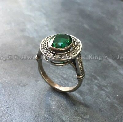 Vintage Art Deco Green Emerald Antique Engagement Bride Wedding Ring Circa 1920s
