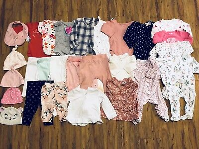 Lot of 27 Baby Girl Infant Newborn Clothes Size 0-12 Months 0-3, 3-6, 6-12, 6-9