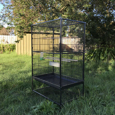 Stand-Alone Large Perch Decor Bird Cage on Wheels - 131x78x52cm