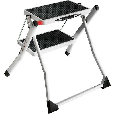 2 Two Step Folding Steel Frame Stool Ladder Safety Anti Slip Rubber Mat Tread