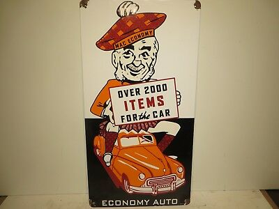 """16x31 Vtg. 1950  """"Mac Auto Economy: Over 2000 items for your Car"""" Porcelain Sign"""