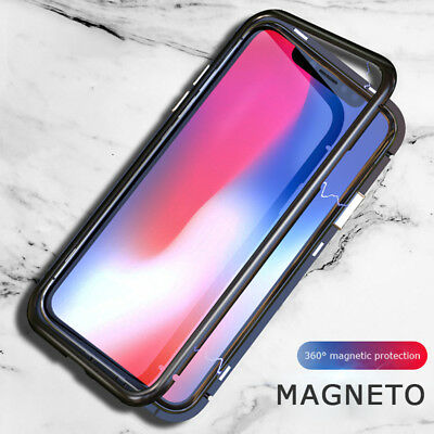 Magnetic Adsorption Case Bumper Aluminum Frame+Tempered Glass Cover For iphone
