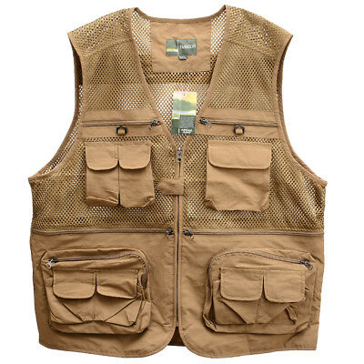 Men's Breathable Outdoor Sports Multi Pocket Zipper Loose Mesh Fishing Vest
