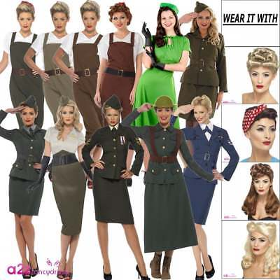Ladies WW2 1940s 40's Wartime Uniform Costumes Womens Fancy Dress Outfit Wig