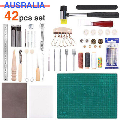 DIY Leather Craft Punch Tools Stitching Sewing Carving Working Saddle Kits Tool