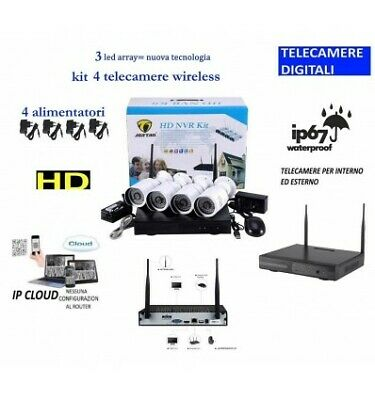Set Kit  Wireless Wifi Videosorveglianza Ahd 2Mp Dvr Full Hd 4 Telecamere Hd