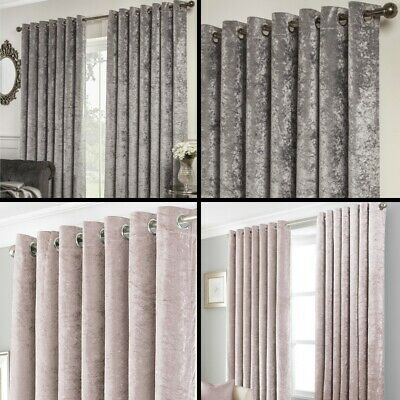 Crushed Velvet Self-Lined Blackout Eyelet Ring Top Curtains Grey Natural