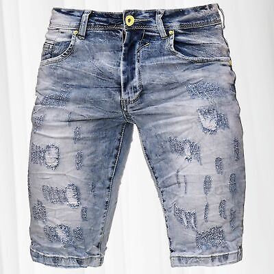 e5fb2ede41ba Men s Jeans Shorts Bermuda Neon Seam Stretch Capri Pants Denim Trousers  Summer