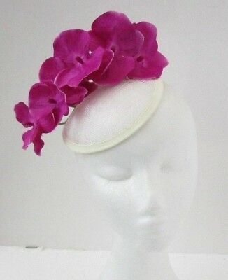 Cream Hot Fuchsia Pink Orchid Flower Fascinator Sinamay Hat Races Hair Clip 5865