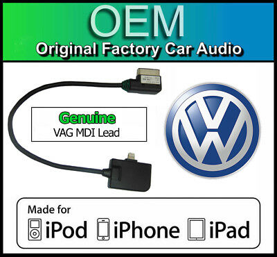 VW MDI iPod iPhone lead, VW Golf MK6 lightning cable connection Media In adapter