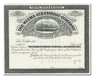 Weems Steamboat Company of Baltimore City Stock Certificate (1890's)