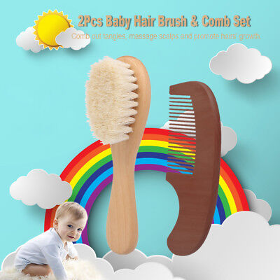Baby Hair Brush Comb Set Soft Wool Hair Scalp Massager With Wooden Long Handle