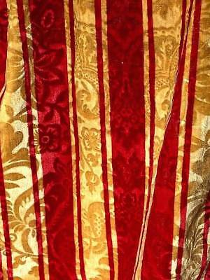 """Early 19Thc Velvet Striped Curtain With Inwoven Relief Flowers & Fringes 135"""" !!"""