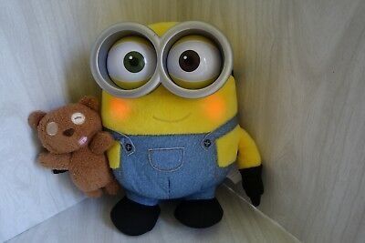 """Despicable Me Minion Bob with Teddy Bear Talks & Lights Up 10"""" Thinkway Toys"""