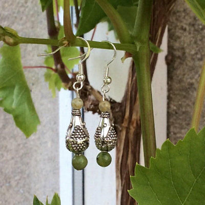 Sterling silver Connemara marble drop earrings. Quality Antique style beads
