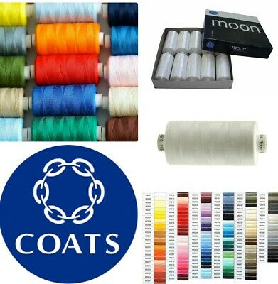 Moon Coats Polyester Sewing Thread - cotton EVERY COLOUR 1000Y (BUY 1 GET 1 FREE