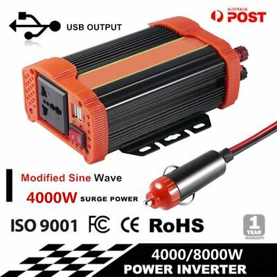 4000W/8000W Peak Modified Wave Power Inverter DC 12V to AC 220V Car Caravan UG