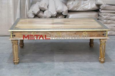 Indian Antique Style Mango Wood Coffee Table with Brass Trim Flowers