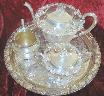 1 - Old English Reproduction Silverplate Tea Service (2018-101D)