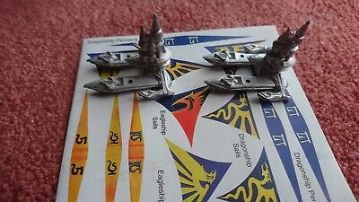 Warhammer Man O' War High Elf Dragon ships, w/ pennants sheet, (missing masts).