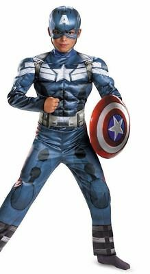 Captain America w//Muscle Costume for Boys size 10-12 New by Disguise 43652