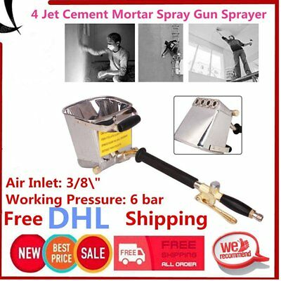 Wall Mortar Sprayer Gun Stucco Shovel Ladle Cement Plaster Hopper With Hand UG