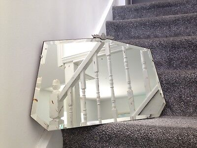 Lovely Genuine 1930's Art Deco Motif Bevelled Edge 7 Sided Mirror Original Chain