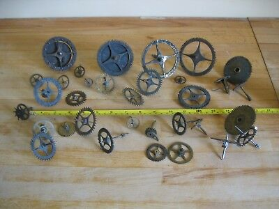 Collection 30 Clock Gears Sprockets Cogs - Spares Repair - Steam Punk - Job Lot