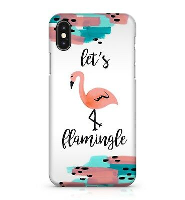 Lets Flamingle Funny Pun Joke Water Painted Cute Flamingo Bird Phone Case Cover