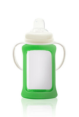 Cherub Baby Glass Sippy Cup Silicone Shock Proof Sleeve 240ml GREEN Free postage