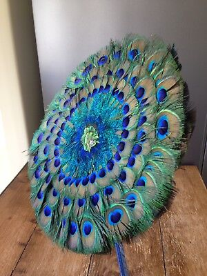 Stunning Vintage Peacock Feather Double Sided Fan Home Interior Design Fashion