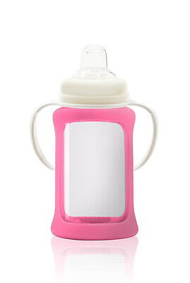 Cherub Baby Glass Sippy Cup & Silicone Shock Proof Sleeve Wide Neck 240ml PINK