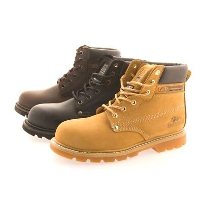 Men's Groundwork SK21 Genuine Leather Steel Toe Safety Work Boots Shoes