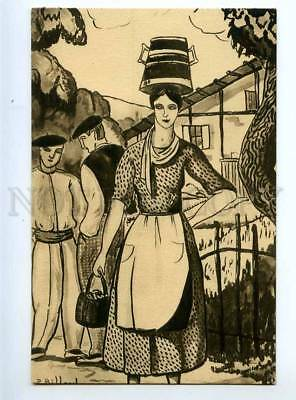234475 Basque Country Young Girl by BILLARD Vintage postcard