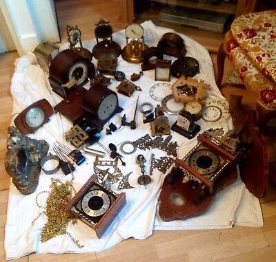 Assorted antique clocks and  parts