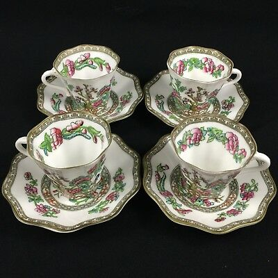 Set of 4 VTG Cups and Saucers Coalport Bone China Indian Tree Pattern