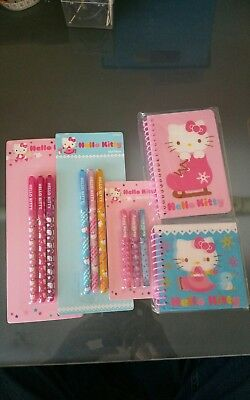 New Hello Kitty 3 Sets of 3 Gel Pens lenticular  small journal larger note book
