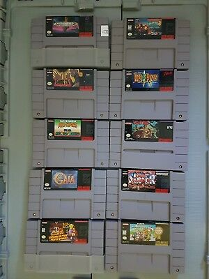 Large Super Nintendo game collection with authentic rare games + console