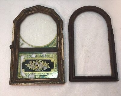 Vtg Pair Antique Wall Clock Case Door ONE W/ GLASS REVERSE PAINTED Parts FRAME