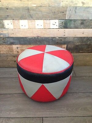 Retro 60'S 70'S Red & Silver Grey Leather Geometric Foot Stool Pouffe Sherborne