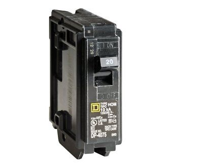 Square D HomeLine Single Pole 20 Amp Circuit Breaker HOM120