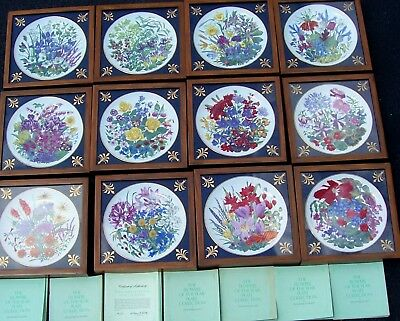 Comp Set 12 Franklin Porcelain The Flowers Of The Year Plate Coll. By Wedgwood .