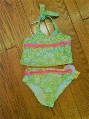 Nwt Girls Arizona 2-Pc Bathing Swm Suit Bright Lime Green & Pink Pattern Size 6