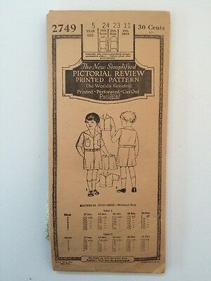 Pictorial Review 1920s Boy's Suit Pattern